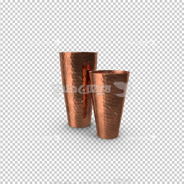 تصویر دوربری سه بعدی لیوان مسی