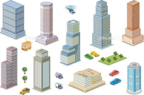 طرح گرافیکی وکتور سه بعدی ساختمان های بلند