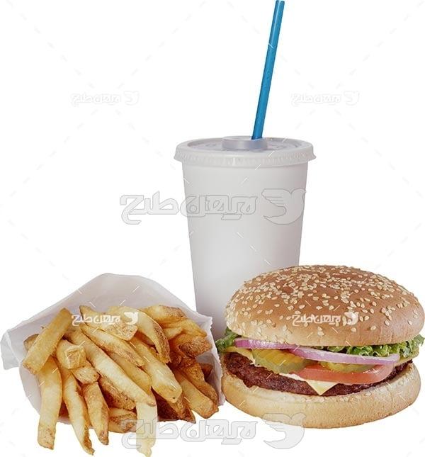 تصویر با کیفیت از ساندویچ و خلال سیب زمینی