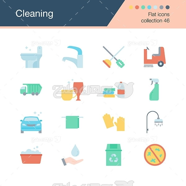 وکتور آیکن گرافیکی با موضوع شتشو و تمیز کردن