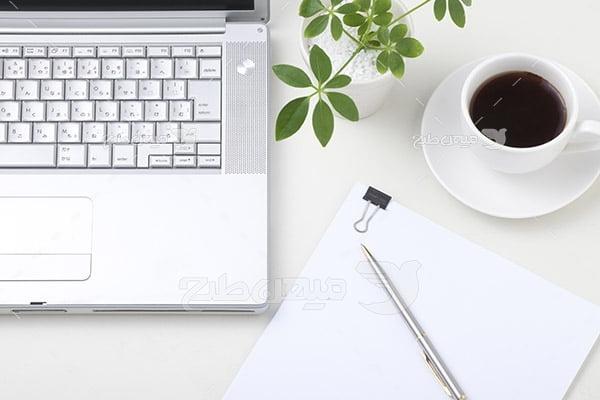 عکس لپ تاپ و چای