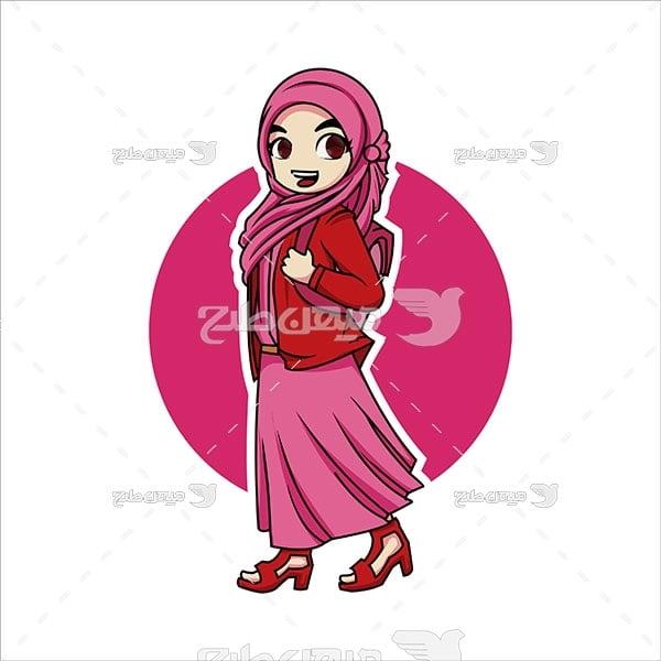 وکتور دختر دانش آموز مسلمان