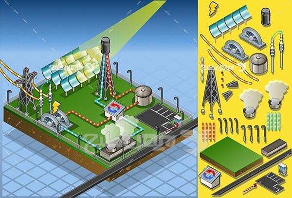 وکتور سه بعدی نیروگاه برق