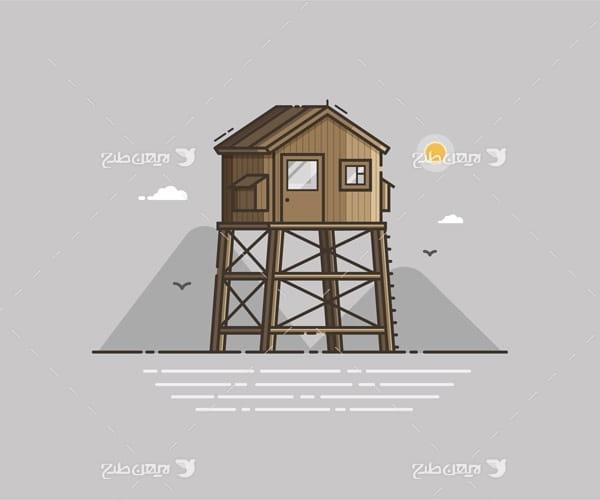 وکتور گرافیکی دریا ، کوه و خانه چوبی