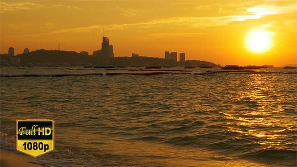 فوتیج ویدیویی غروب دریا